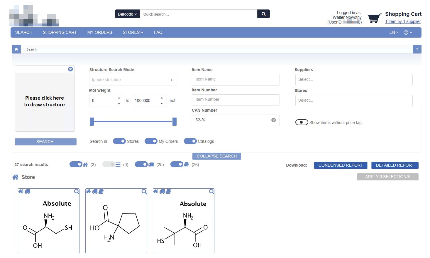 Blick auf die Startseite unserer Bestell- und Verwaltungssoftware für Chemikalien mit Struktursuche